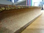 "Board edge and fore-edge detail of the 1655 Amsterdam edition of Robert Johnston's ""Historia rerum Britannicarum""."