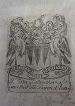 "Armorial bookplate of Sir John Anstruther (1673-ca. 1754) on the verso of the title page of the 1655 Amsterdam edition of Robert Johnston's ""Historia rerum Britannicarum""."