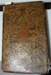 "Front cover of Jean de Tournes' 1561 ""La Sainte Bible"" bound in the 16th century 'fanfare' style."