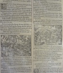 """Detail of chapters 2 and 3 of the Book of Genesis from the 1561 Jean de Tournes """"La Sainte Bible"""" featuring woodcuts by Bernard Salomon."""
