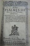"""Title page of Andro Hart's 1611 printing of  """"Psalmes of David in meeter""""."""