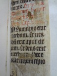 The first verse of the Gospel of John copied in a 14th century manuscript fragment, used as binding waste for TypGF.B45BB.