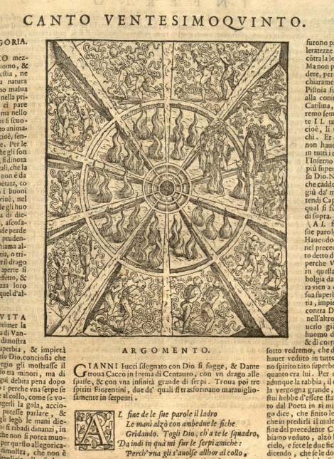 The beginning of the 25th Canto of the Inferno, from the Sesso brothers' 1596 Venetian printing of  The Divine Comedy (St Andrews copy found at TypIV.B96SD).