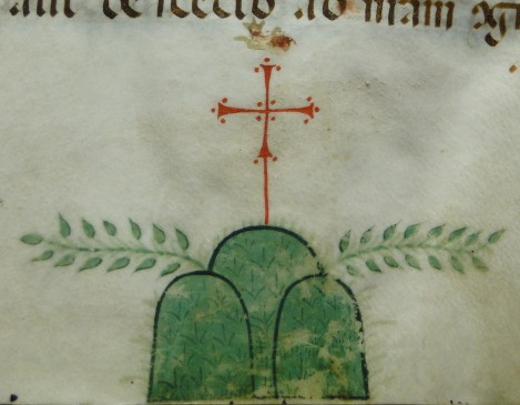 "The motif (three hills topped by a cross with two olive branches) found at the foot of the first folio of an Italian 14th century copy of of the Pseudo-Augustinian ""Sermones ad Fratres in Eremo""."