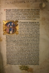 The first leaf of the 1475 Mantua printing of Pablo de Santa Maria's Scrutinium Scripturarum, with a puzzle-work illuminated initial featuring Pablo de Santa Maria and Samuel of Morocco (TypIM.A75SP).