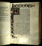 The first leaf of the 1470 Rome printing of St Thomas Aquinas's Quaestiones, featuring a miniature of the author within the initial and border decoration (TypIR.A70LT).