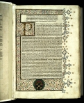 The first leaf of the 1479 Rome printing of the second part of Jerome's Epistolae, with a large illuminated initial and elaborate intertwined border decoration (TypIR.A79LJ).