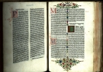 "A leaf from Matthew from the 1480 ""Venice Bible"", which is decorated throughout with illuminated initials (TypIV.A80RB)."