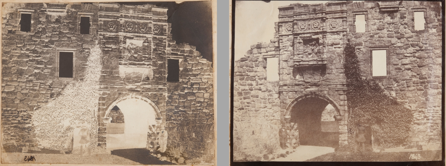 Calotype negative and Albumen print of Saint Andrew's Castle.