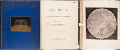 From left to right: the front cover, title page and Plate IV from the first edition of James Nasmyth's The moon.