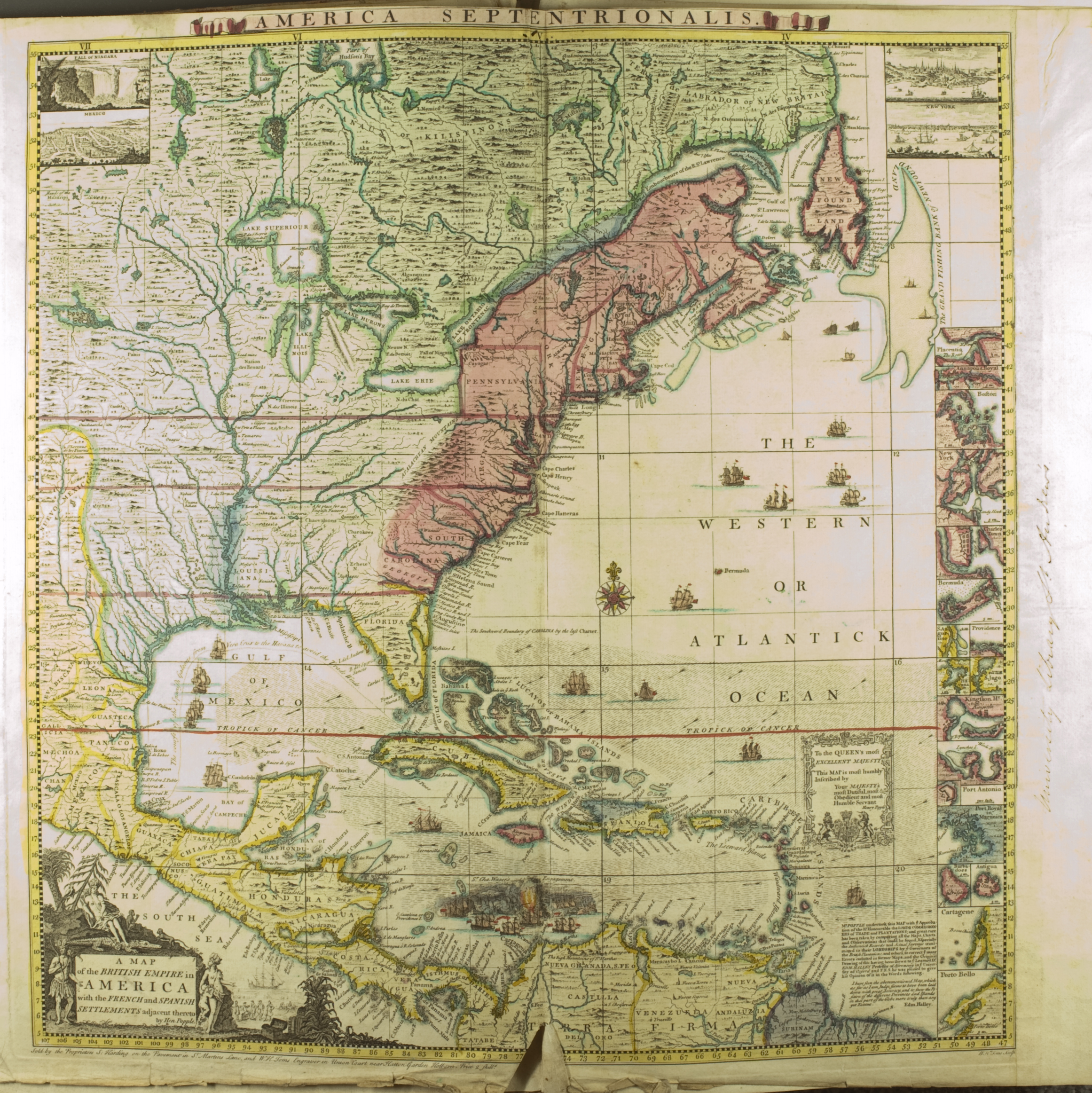 The 'key' map to Henry Popple's 1733 Map of North America.