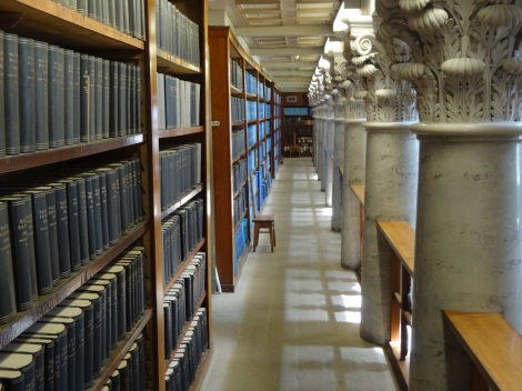 Why libraries and classical architecture work so well together: repetition is symmetry's next-of-kin (from the Upper Stacks of the southern hall of the National Library of Finland).