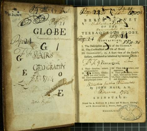 A well used copy of John Mair's Brief survey of the terraqueous globe (Edinburgh, 1762).