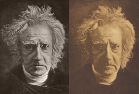 Sir John Herschel, 1867, photographed by Julia Margaret Cameron. Photogravure from Camera Work printed 1913 (left) and photogravure from Alfred, Lord Tennyson and his Friends printed 1893 (right).
