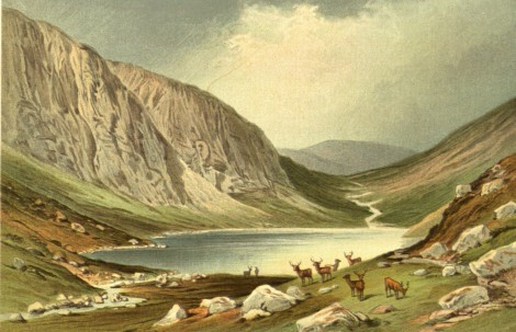 The Dhu Loch, Lochnagar: a rural idyll, from Souvenir of Scotland, its Cities Lakes and Mountains – One hundred and twenty chromo views (London,  Edinburgh & New York, 1891) Hen1.3.12