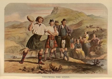 One of many unrealistic images of highlanders at work and play, in Gaelic Gatherings: The Highlanders at home, on the heath, the river, and the loch, by RR McIan (London 1848), Hen1.2.33