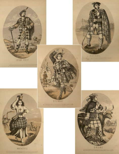 A selection of images from The Clans of the Highlands of Scotland(Edinburgh 1862). The formality of dress, the naive caricature, and the primitive nature of the drawing all add to the patronising air of bucolic simplicity which was typical of the 19th century promotion of highland society. (St Andrews copy Hen1.1.36)