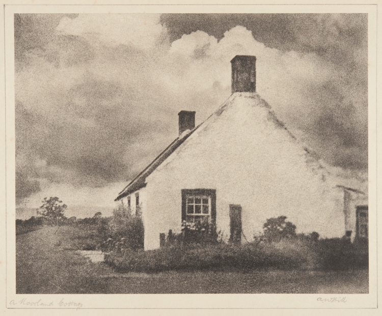 """A moorland cottage"", bromoil transfer print, date unknown ca.1920s-30s, by Alexander Wilson Hill (1867-1949)"