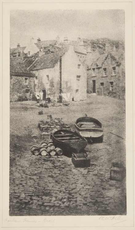 """Harbour Houses – Crail"", bromoil transfer print, date unknown ca.1920s-30s, by Alexander Wilson Hill (1867-1949)"