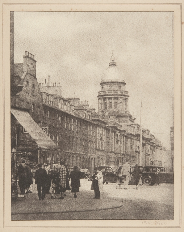 """St George's Edinburgh"", bromoil transfer print, date unknown ca.1920s-30s, by Alexander Wilson Hill (1867-1949)"