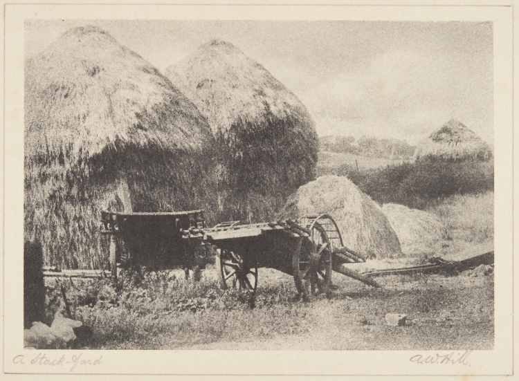 """A Stack-Yard"", bromoil transfer print, date unknown ca.1920s-30s, by Alexander Wilson Hill (1867-1949)"