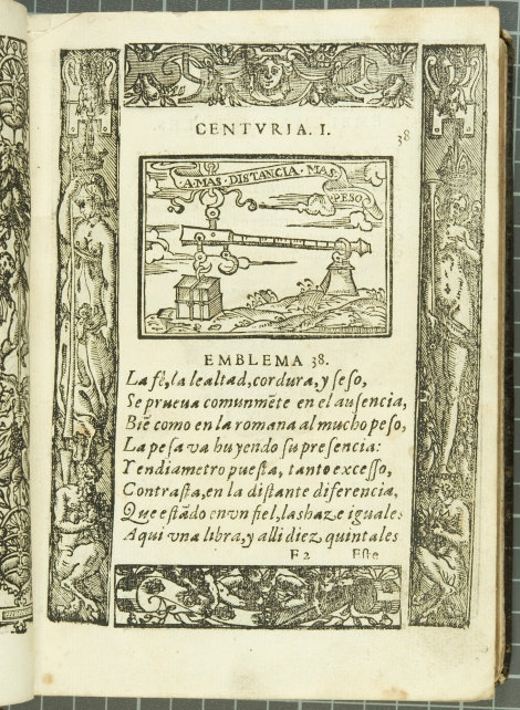 "Emblem 38: ""Amas distancia mas peso"" (roughly translated to: Distance makes love stronger), from Covarrubias's Emblemas morales (1610)."