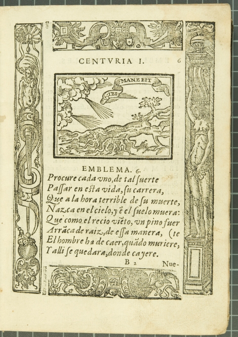 "Emblem 6: ""Ibi manebit"" (Remain there), from Covarrubias's Emblemas morales (1610)."