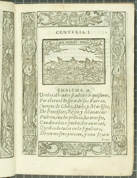 "Emblem 19: ""Nulli sua mansit imago"" (None kept his own image), from Covarrubias's Emblemas morales (1610)."