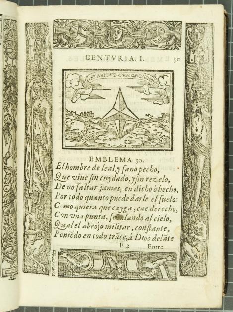 "Emblem 30: ""Stabit ut cunorum cadat"" (  ), from Covarrubias's Emblemas morales (1610)."