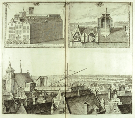 Three views of the observatory of Johannes Hevelius in Gdańsk which spanned the rooftops of three homes, from his Machinae coelestis (St
