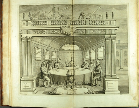 The added engraved title page of Prodromus astronomiae (1690) which places Hevelius at the same heavenly table as Ptolomy, Tycho Brahe and Urania (St Andrews copy at r17f QB41.H2).