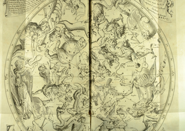 The heavens, according to Johannes Hevelius: a fold out plate from his Firmamentum Sobiescianum (St Andrews copy at r17f QB41.H2).