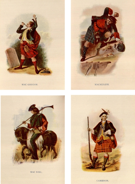 A selection of illustrations from The Clans of the Scottish Highlands, Illustrated by Appropriate Figures… by R.R. McIan Esq.  (London 1845)McG DA880.H76M3.  Not only do these romanticise and formalise the garb, but also attempt to characterise (or caricature?) the behaviour of the clanspeople.