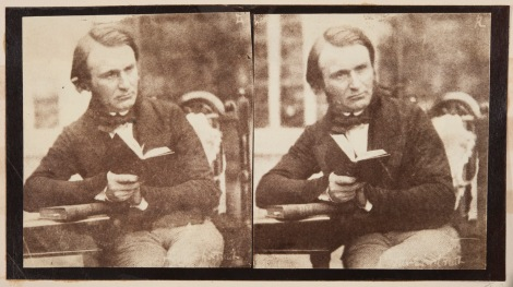 John Adamson, stereographic self-portrait, Albumen print from calotype negative. c.1845-1851 (St Andrews Photographic Collection Alb8-88)