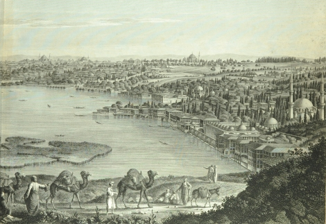 A view of Constantinople from plate 5 of Antoine Melling's Voyage pittoresque de Constantinople et des rives du Bosphore (St Andrews copy at rfx DR724.M4)