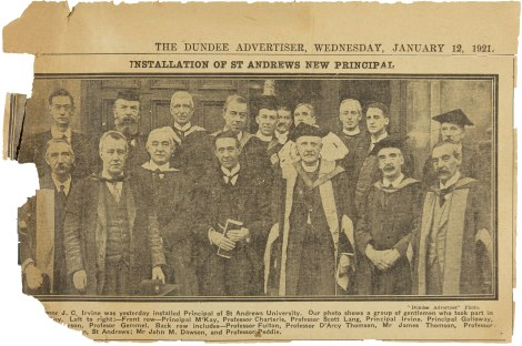 Photograph of clipping from The Dundee Advertiser, dated 12 January 1921 (UYUY250/Irvine2)