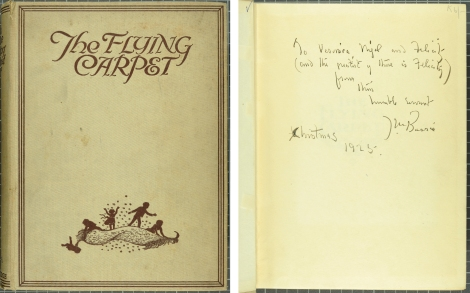 Front cover of the Flying Carpet (1925) and the inscription from J.M. Barrie on the front fly-leaf (St Andrews copy at Chi PZ7.A843F6)