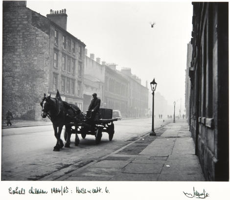 "'Horse and Cart, Gorbals' by Joseph McKenzie, 1964-1965. Part of a recent acquisition of a collection of works entitled ""Scottish Photography Porfolio I"" which was generously donated to the University by the Portfolio Gallery of Edinburgh in 2011"