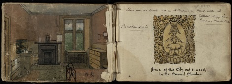From the sketchbook of John N. Bonthron, depicting his bedroom on South Street and a sketch of the coat of arms of St Andrews found in the City Council Chambers (ms38539)