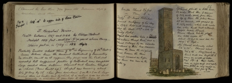 'St. Regulus' Tower' from John N. Bonthron's sketchbook, with the artist's copious notes (ms38539)