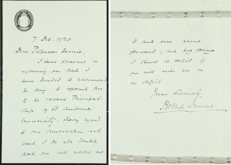 Photograph of letter sent to Professor Irvine from Robert Munro, Secretary for Scotland (UYUY250/Irvine2)