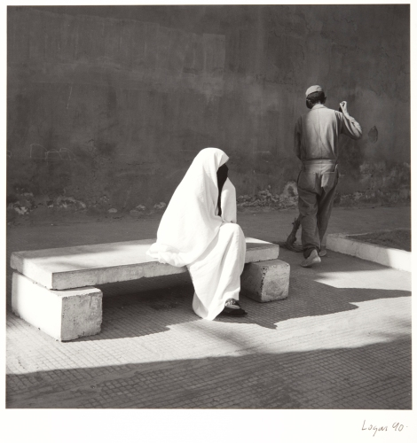 """Seated Woman, Essaoura Morocco"" by Owen Logan, 1986. Part of a recent acquisition of a collection of works entitled ""Scottish Photography Porfolio I"" which was generously donated to the university by the Portfolio Gallery of Edinburgh in 2011."