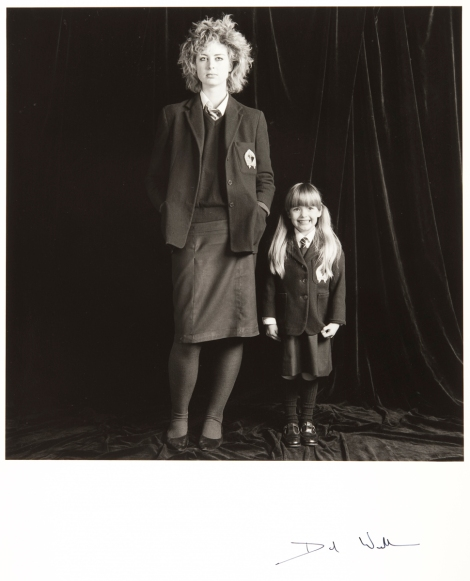 """Sixth Form Girl, Primary I Girl"" by David Williams, 1984. Part of a recent acquisition of a collection of works entitled ""Scottish Photography Porfolio I"" which was generously donated to the university by the Portfolio Gallery of Edinburgh in 2011."