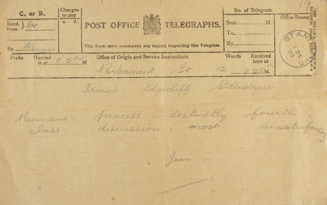 "Photograph of the telegram, which reads ""Rinmans process distinctly fourth class   discussion most unsatisfactory"" (UYUY250/Irvine2)"
