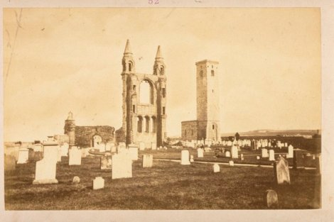 The east front of St Andrews Cathedral and St Rule's Tower, with the burying ground in the foreground; photograph attributed to Thomas Rodger (ALB-55-52).