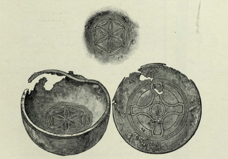 Sketch of the bronze bowl; the upper figure shows the ornament on the exterior of the bottom on the bowl. From the Proceedings of the Society of Antiquaries of Scotland, v.33, p.77 (St Andrews copy at rper DA750.S7P8).