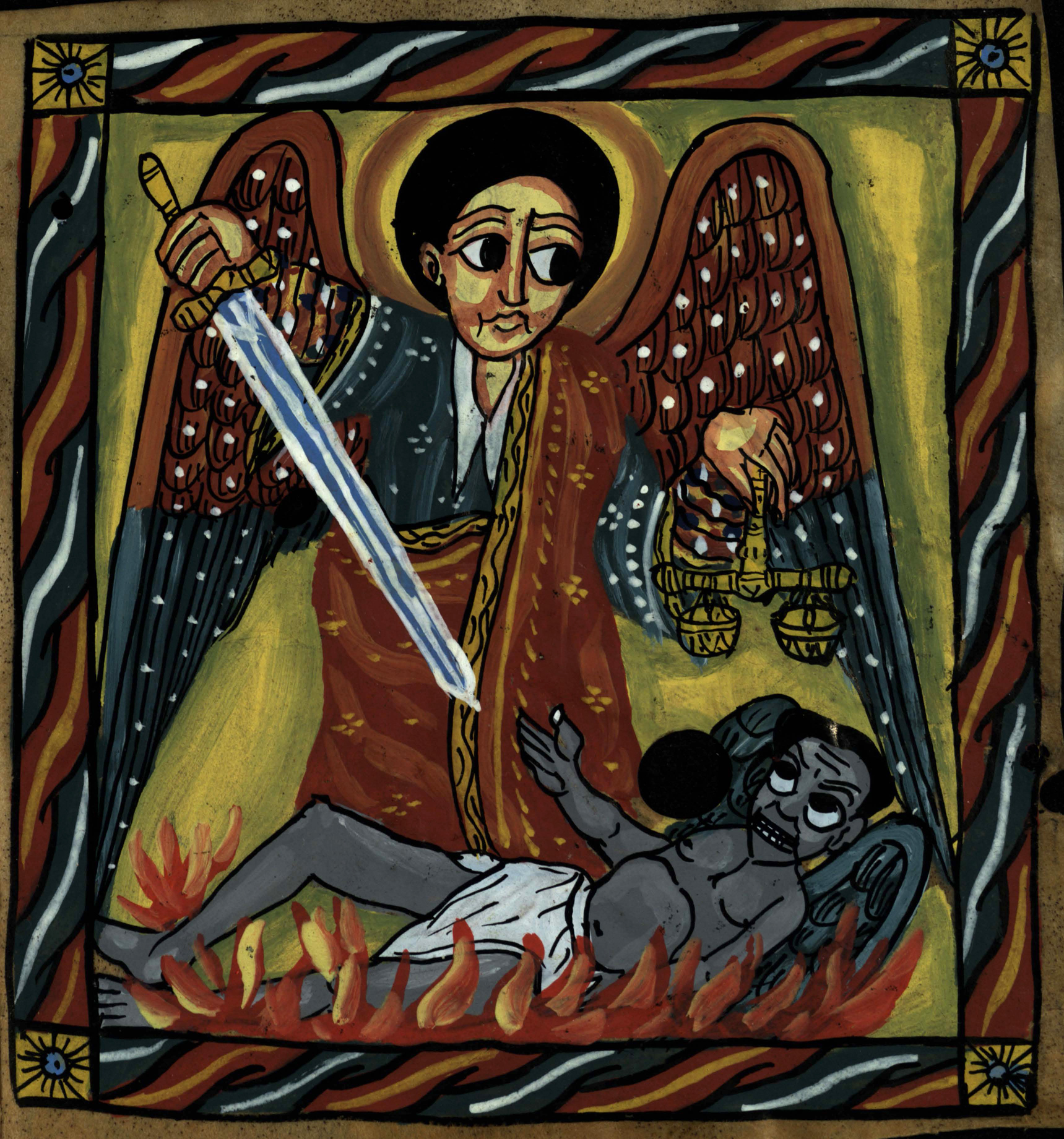 46ea9b3f An illustration of Archangel Michael defeating the Devil from an 18th  century Ethiopian psalter (St