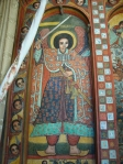 Photograph of Archangel Michael, wall-painting in Narga Selassie monastery. Photograph by Maia Sheridan, January 2013.
