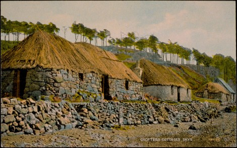 Crofters' Cottages, Skye., 1890, J. Valentine & CoMedium: Colourtone (Halftone Print). St Andrews copy at JV-11810-B.