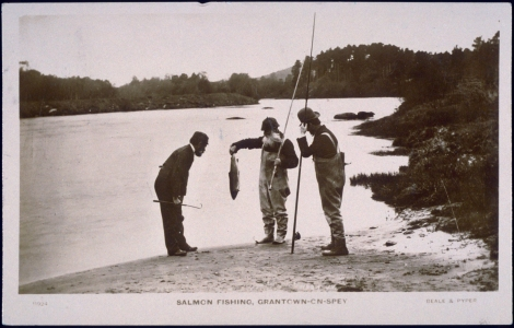 Salmon Fishing, Grantown on Spey, 1890. J. Valentine & Co.Medium: Real Photo (Gelatin Silver Print). St Andrews copy at JV-11924-B